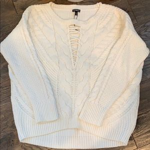 Express White Cable Knit Laceup Cleavage Sweater M